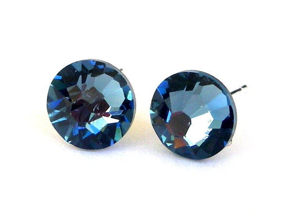 7mm Denim blue crystal post earrings, Swarovski crystal blue studs