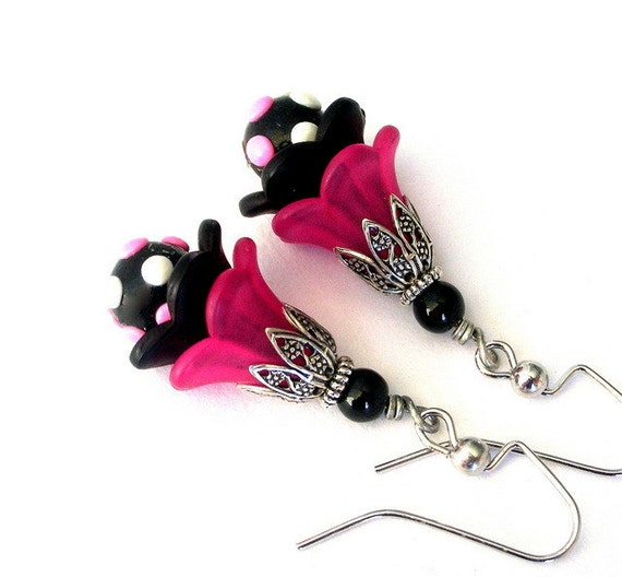 Pink and black earrings, polka dots, lucite flowers, Spring fashion
