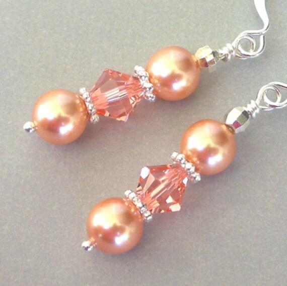 Rose peach pearl and crystal earrings, Swarovski