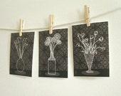 Set of 3 Flower Room Illustration Prints 5x7 (Flower version)