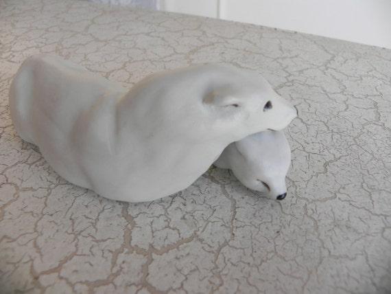porcelain polar bear and cub