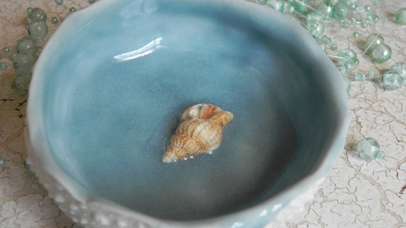 awesome aqua porcelain urchin dish