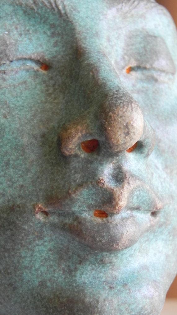 turquoise blue matte stoneware bust