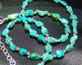 Custom Order B Grade Turquoise Nugget Bead Necklace Genuine Stabilized 17 to 19 Inch Strand