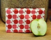 Reusable Cloth Snack Bag --  Fresh Red Apple -- Handmade Eco Friendly and Green
