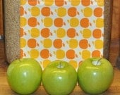 Reusable Cloth Sandwich Bag -- Orange Apple -- Handmade Eco Friendly and Green