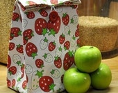 Cloth Lunch Bag -- Reusable -- Red Strawberry -- Handmade Eco Friendly and Green