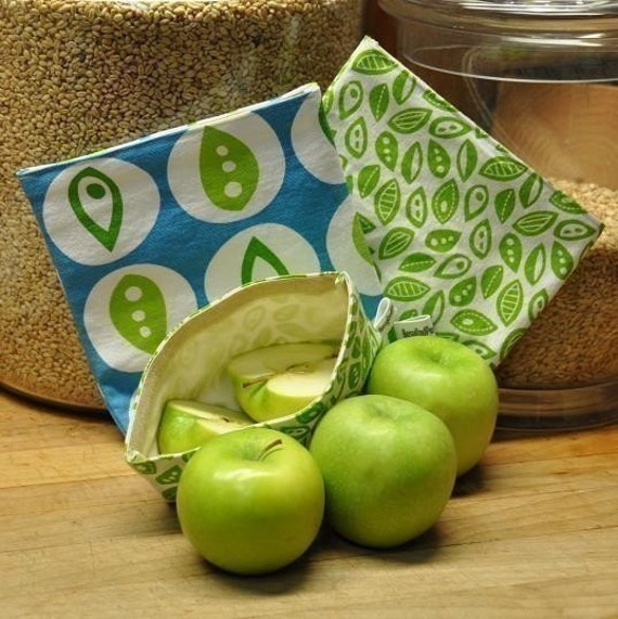 3 Reusable Cloth Sandwich Bags -- Jessica Jones Blue Peapod -- Handmade Eco Friendly and Green