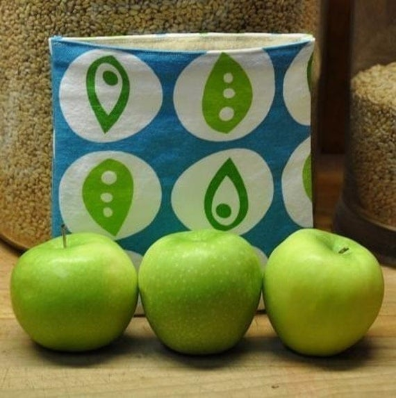 Reusable Cloth Sandwich Bag -- Blue Peapod -- Handmade Eco Friendly and Green