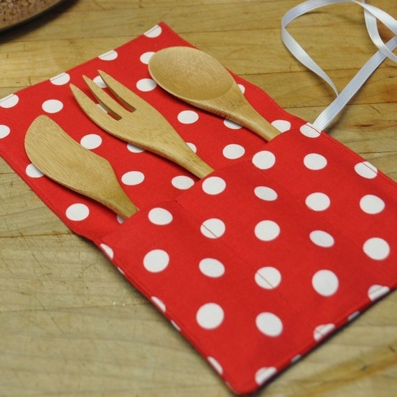 Reusable Cloth Cutlery Silverware Caddy or Holder -- Red Polka Dots -- Handmade Eco Friendly and Green