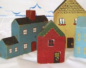 Vintage Houses Primitive Painted Wood Block Set of 4 Red Blue Yellow Gray Aqua