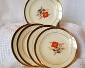 La Mode China Vintage Six Inch Small Plates with Red Orange Rose 22K Gold Edge Set of 5 DIY Wedding Bridal Shower