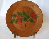 Wooden Plate Hand Painted Wood Camp Project Berries Leaves Cabin Rustic Cottage Decor