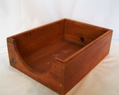 Deep Wooden Box Desk Mail Holder Open Wood Tray with Curved Front Opening