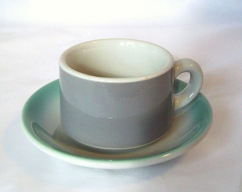 Mint Green Gray Cup Saucer Vintage Restaurant Ware Aqua Grey Solid Colors Heavy Coffee Mug Diner Dishes Cafe China Cottage Decor Mid Century