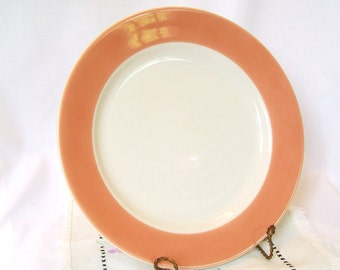 Vintage Restaurant Ware Coral Edge Plate Peach Salmon Dinner 9 Inch Homer Laughlin 1986 Cafe China Diner Dishes
