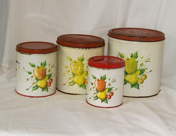 Vintage Tin Kitchen Canisters Fruit Decal Red Lid Set