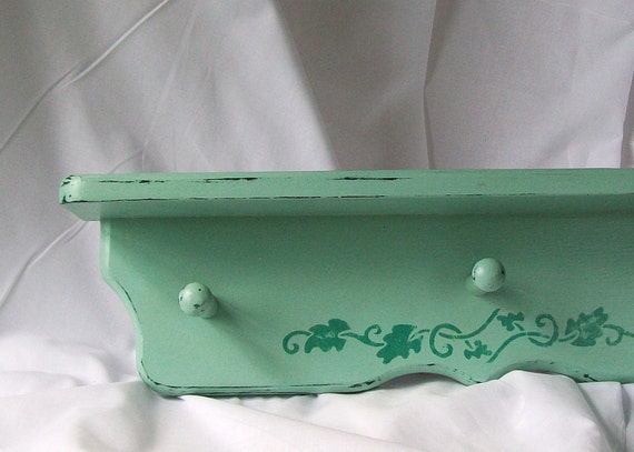 Hand Painted Wood Shelf Mint Green Peg Hooks Beach Cottage Country Vine Stencil 22 Inch Upcycled