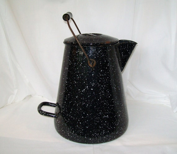 Large Enamel Coffee Pot Us Navy Vollrath Co Black Splatterware