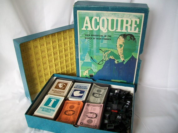 1971 Vintage Acquire Game Hotel Finance Real Estate Trading Board 2 to 6 Players