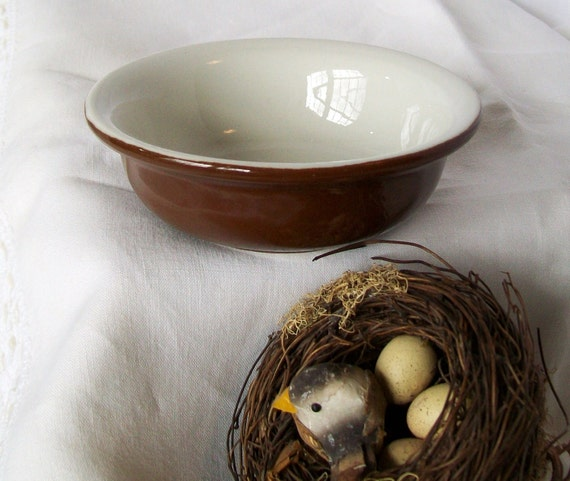 Vintage Hall Pottery Bowl Small Brown and White