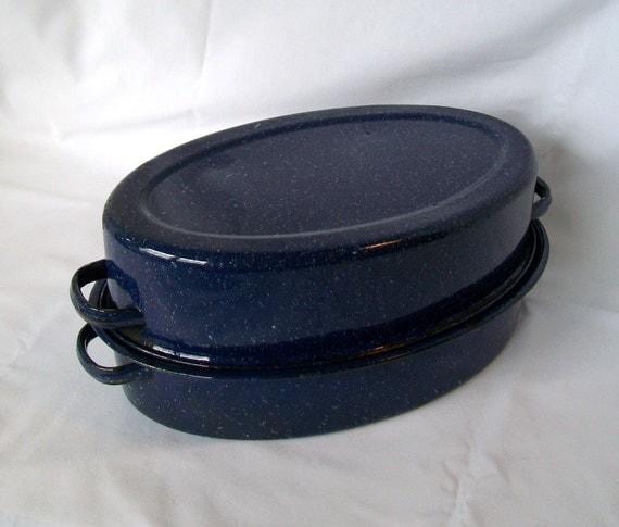 Vintage Cookware Enamel Roasting Pot Oblong Oval Roaster Blue Light Weight Cowboy Camp Cook Ware