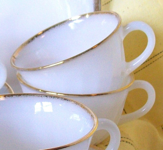 Fire King Cups and Saucers Gold Edge Swirl Design 5 Sets Vintage Table Ware Dishes