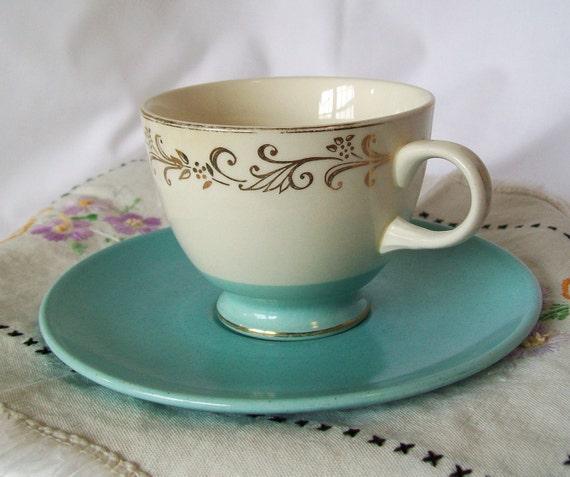 Vintage Aqua Tea Cup and Saucer Mixed China Patterns Coffee Set