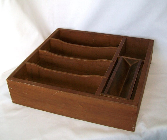 Vintage Wooden Drawer Flat Wood Box Divided Heavy Open Organizer