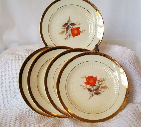 La Mode China Vintage Six Inch Small Plates with Red Orange Rose 22K Gold Edge Set of 5 DIY Wedding Bridal Shower