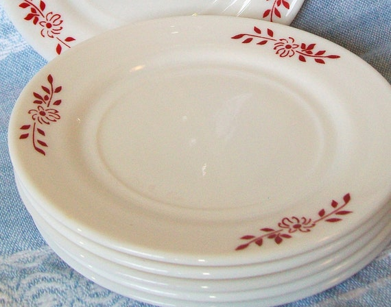 6 Small White Milk Glass Plates with Red Flowers Dessert Dishes Translucent China