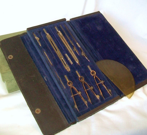 Antique Drafting Tools in Case Mechanical Drawing Architecture Equipment