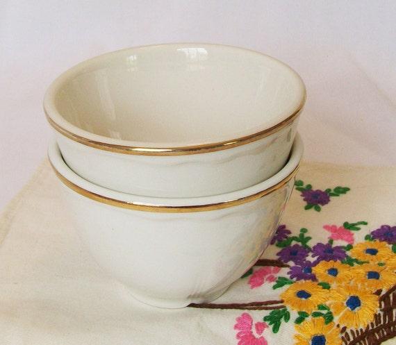 Homer Laughlin Cream Soup Bowls Vintage Restaurant Ware Gold Edge White Best China Ramekin