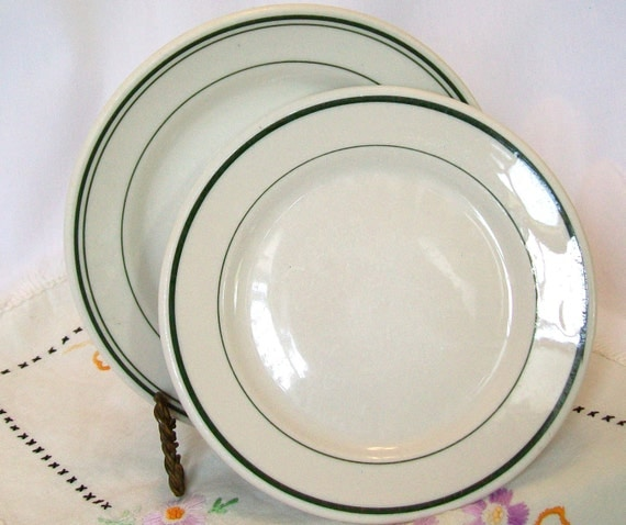 Pair Small Green Stripe Restaurant Ware 7 Inch Plates Syracuse McNichol Hotel China Diner Cafe Dishes