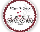Bicycle Theme - Personalized circle Stickers - 5 sheets - Favor - Weddings - Bridal Shower - Birthday - Thank You -Address Labels