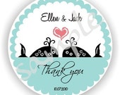 Whale Design - Personalized circle Stickers - Set of 8 sheets - Monogram - Favor - Weddings - Bridal Shower - Thank You -Address Labels