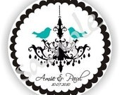 Chandelier and Birds Theme - Personalized circle Stickers - 3 sheets - Monogram - Favor - Weddings - Birthday - Thank You - Address Labels