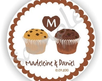 Muffin Theme Labels - Personalized circle Stickers - 5 sheets - Monogram - Favor - Weddings - Bridal Shower - Thank You - Address Labels