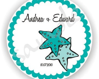 Starfish Design Labels - Personalized Stickers - 5 sheets - Favor Stickers - Wedding Labels - Bridal Shower Labels - Address Labels