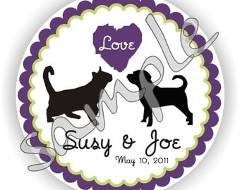 Cat and Dog Theme - Personalized circle Stickers - 5 sheets - Monogram - Favor - Weddings - Bridal Shower - Thank You - Address Labels