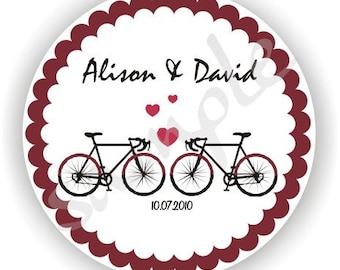 Bicycle Wedding Labels - Set of 6 sheets - Monogram Labels - Wedding Favor Stickers - Bridal Shower Labels - Anniversary Party Labels