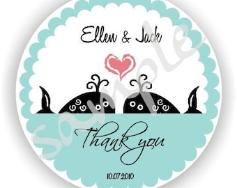 Whale Theme - Personalized circle Stickers - 5 sheets - Monogram - Favor - Weddings - Bridal Shower - Baby Shower - Birthday - Thank You