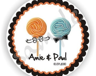 Lollipop Theme - Personalized circle Stickers - 7 sheets - Monogram - Favor - Weddings - Bridal Shower -Thank You - Address Labels