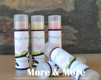 Delicious Wedding Favors - Lip Balms - Set of 50 - Bridesmaid Gifts - Bachelorette Party favors - Choose Flavor and Design