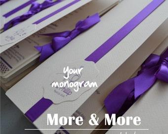 Fold Layered Wedding Program Book with Ribbon Tie - Set of 75