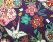 Japanese Kimono Fabric-purple-flower,ball,cherryblossom,peony,butterflycranes-Orizuru