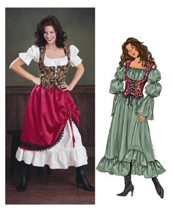 Pirate Wench Costume Pattern - Butterick 3906 - Misses 6, 8, 10, UNCUT