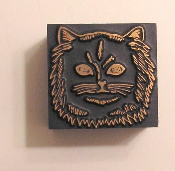 Cat Face Printing Block