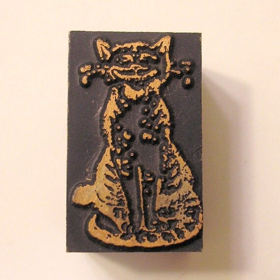 Very Cute Grinning Cheshire Cat Vintage Letterpress Printer's Block