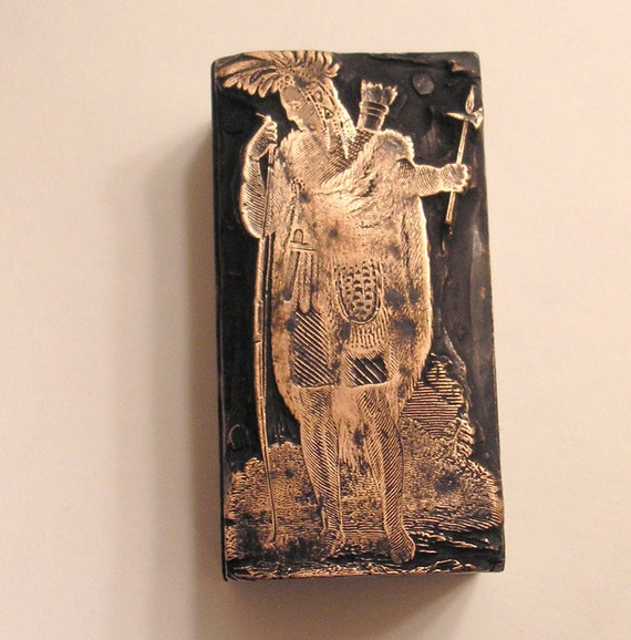 WOW Vintage Letterpress Printer's Block of  a Native American Indian very detailed